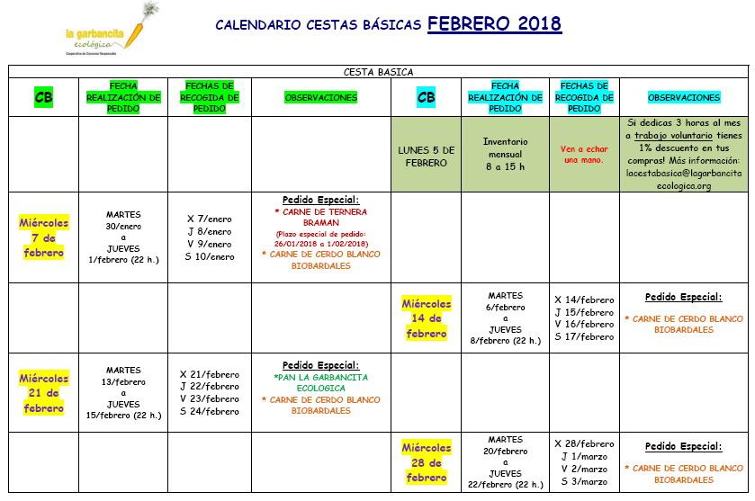Calendario CB febrero 2018