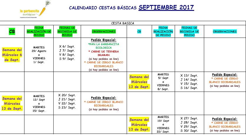 Calendario CB septiembre 2017