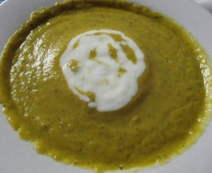 crema calabacin curry yogurt