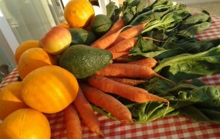 Naranjas, aguacates acelgas y zanahorias