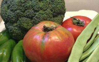 tomate, judías, brócoli