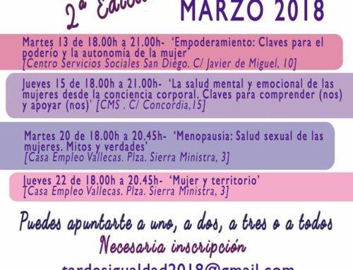 Tardes en Igualdad, 2ª edición Puente de Vallecas: del 13 al 22 de marzo 2018